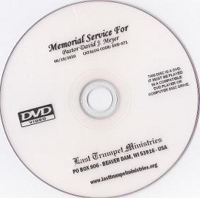 Memorial Service DVD